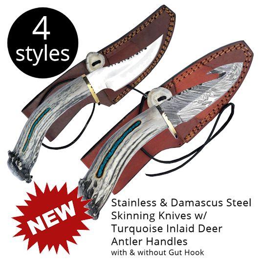 Stainless and Damascus Skinner Knives