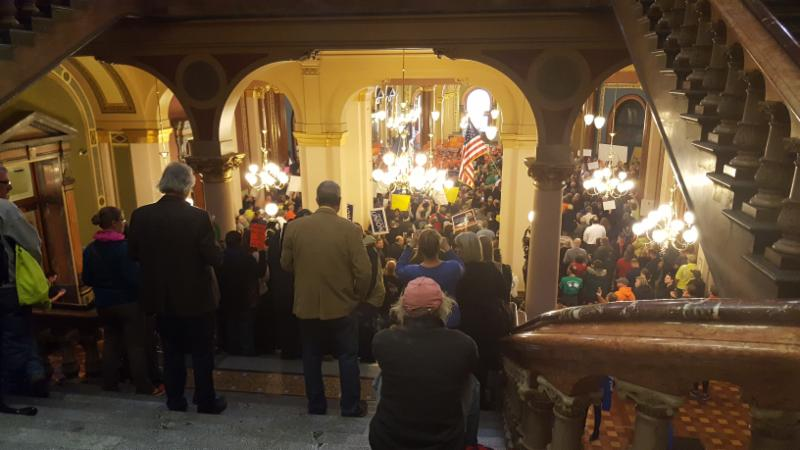 Over 4600 union members flood the first floor of the Iowa State Capitol protesting Collective Bargaining legislation_ February 13_ 2017