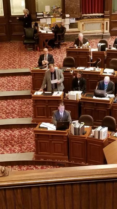 Senator Breitbach manages the floor debate on DRAM Shop Reform legislation.