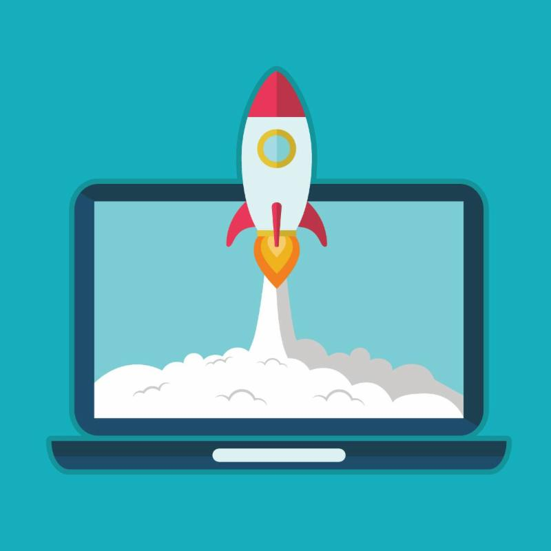 Clip art rocket launching from a laptop with a cloud of fuel coming out the bottom on a teal background