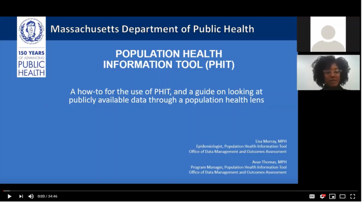 Screenshot of the YouTube video for this webinar, with the title and contact information of the presenters