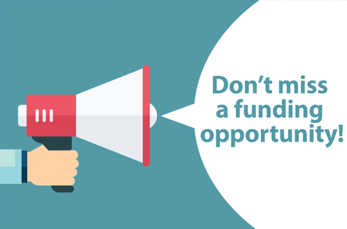 "Picture of a hand holding a megaphone, and the words ""Don't miss a funding opportunity!"" are coming out of the megaphone."