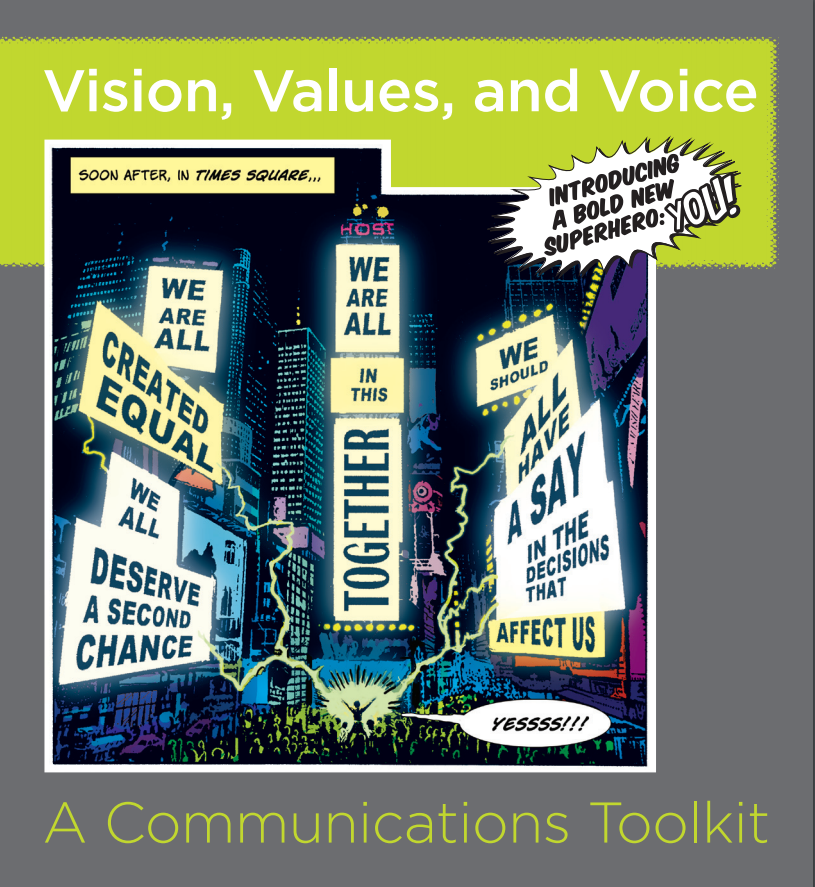 Cover page of the resource titled Vision, Values and Voice, A Communications Toolkit with a comic book inspired piece of art in the middle of the page.