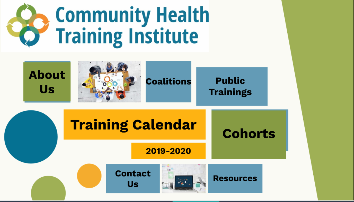 Screenshot of the Community Health Training Institutes Prezi presentation of this year's calendar at the top is CHTIs logo and beneath that are colored boxes of the different categories covered in the presentation