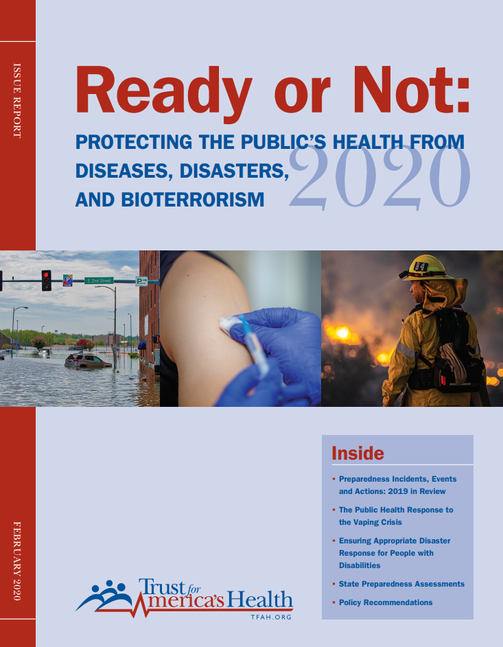 "Report cover of ""Ready or Not 2020: Protecting the Public's Health from Diseases, Disasters, and Bioterrorism,"" with a bulleted list of what you will find inside the report"