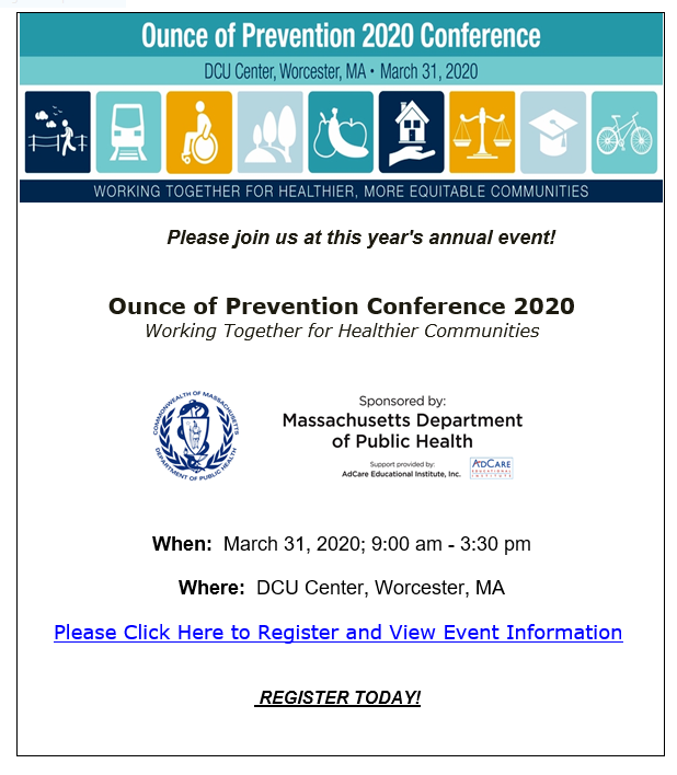 The flyer announcement for 2020's Ounce of Prevention Conference, with details on the date, time, and location
