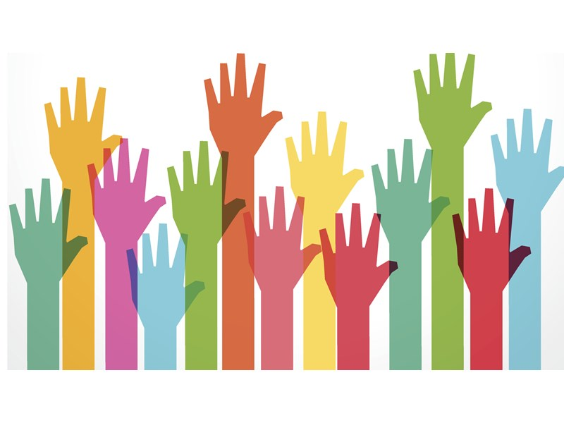 Clip art of multicolored hands all raised in the air, indicating allyship