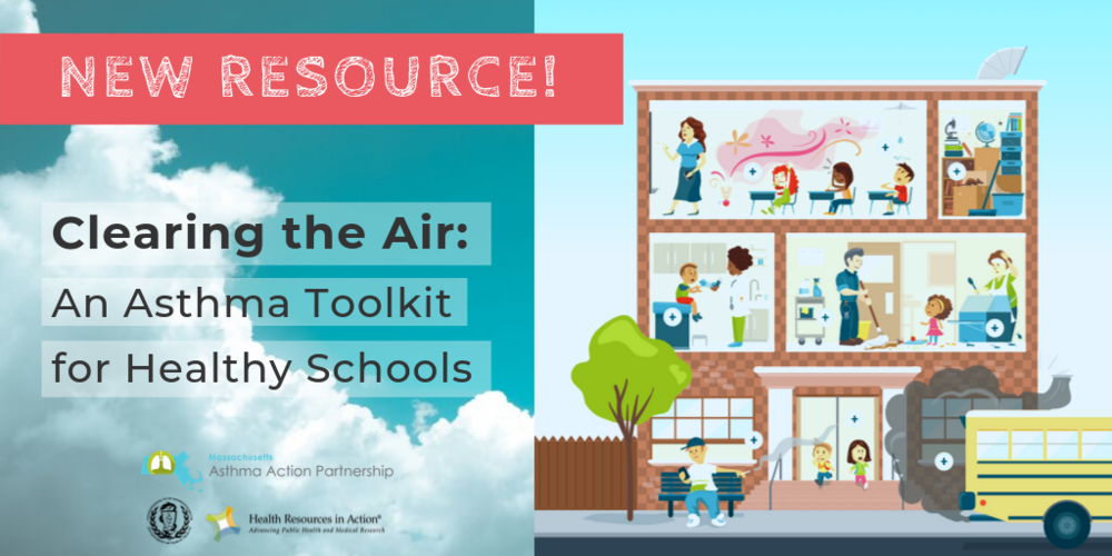 Picture of numerous rooms in a school that illustrate how or why children might suffer from Asthma including a scene in a classroom with scented air wafting over a child with asthma, and on the left is the title of this toolkit Clearing the Air