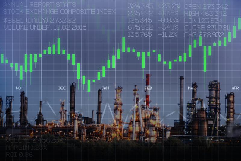 Oil and gas price evolution with refinery power station and stock market business graph