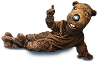 Beaver mascot pointing up