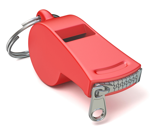 Red whistle with a closed zipper. 3D render illustration isolated on white background