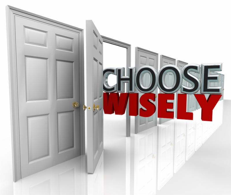 The words Choose WIsely coming out of an open door in a row of many choices you may pick for a new opportunity or path in life