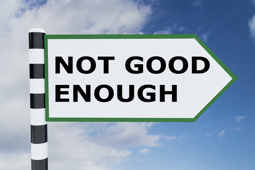 3D illustration of  NOT GOOD ENOUGH  script on road sign