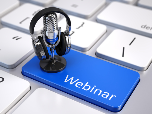 Webinar_ Online Education and Training concept - Blue Webinar button with microphone and headphones