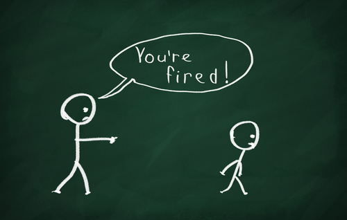 On the blackboard draw character and write You re fired