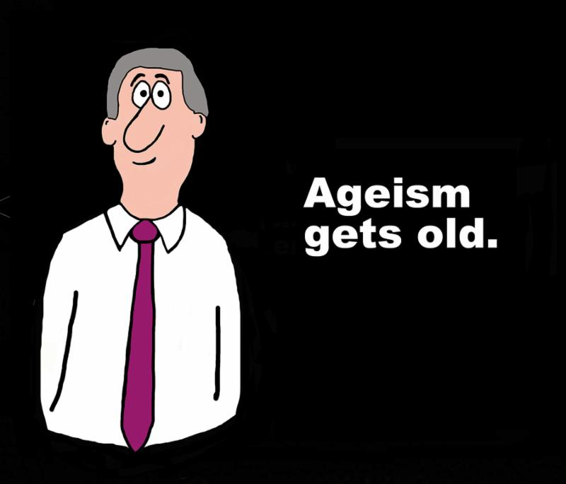 Business illustration of businessman with gray hair and the words_  Ageism gets old .