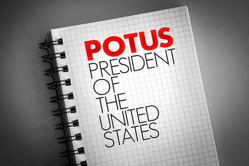 POTUS - President of the United States acronym on notepad_ concept background