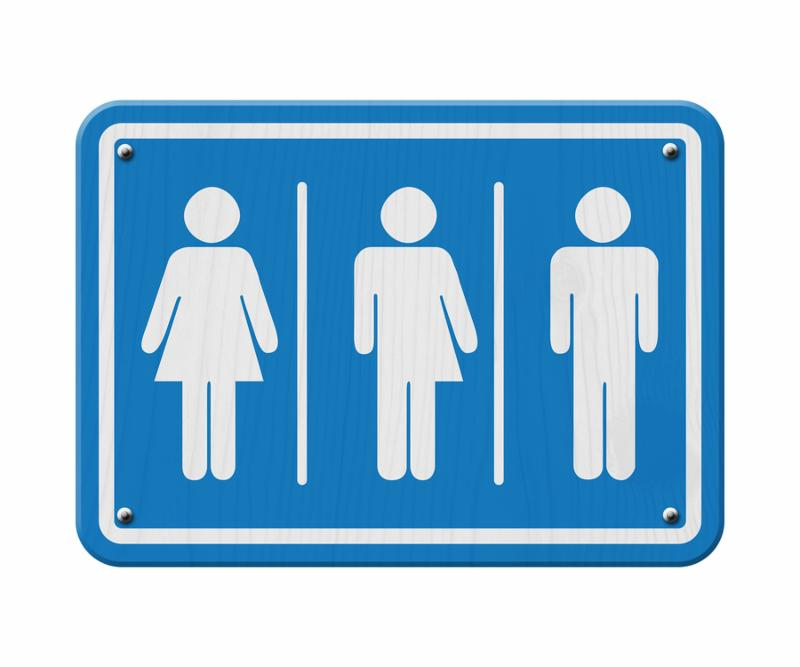 Transgender Sign Blue and White Sign with a woman male and transgender symbol