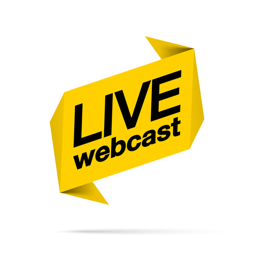 Live webinar flat shape icon. Flat shape design element with play button for online broadcasting or online stream webcast isolated on white background. Webinar Live streaming icon for web Social media