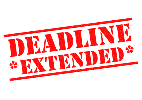 DEADLINE EXTENDED red Rubber Stamp over a white background.