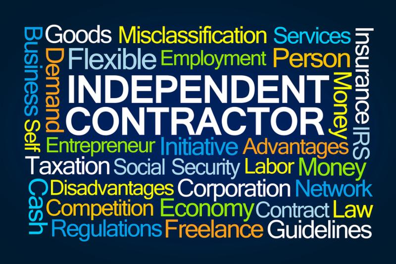 Independent Contractor Word Cloud on Blue Background