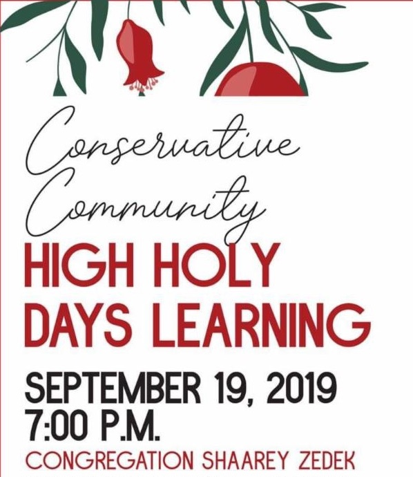 HIGH HOLIDAY LEARNING 2019