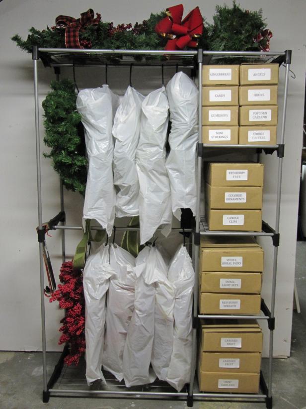 wreaths on a rack