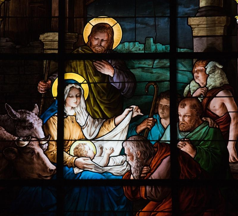 Stained glass window created by F. Zettler  1878-1911  at the German Church  St. Gertrude s church  in Gamla Stan in Stockholm, depicting a Nativity Scene. In the public domain.
