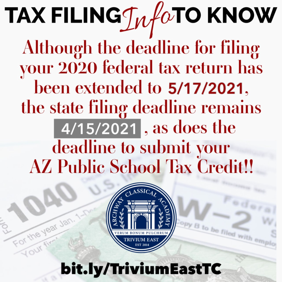 Tax Credit deadline is April 15