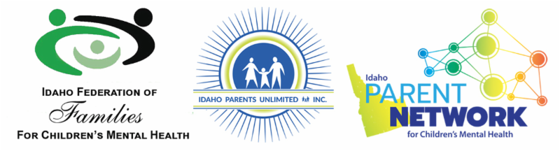 the logos of the Idaho federation of families idaho parents unlimited and the Idaho parent network for childrens mental health