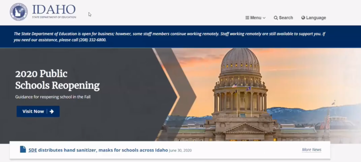 a screencapture showing the idaho state department of education school reopening plan page on the SDE website