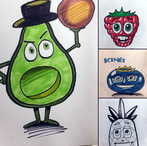 art from Scott  showing multiple anthropomorphic fruits and veggies
