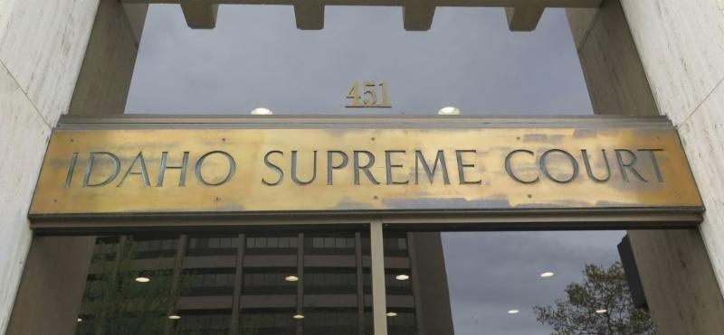 The sign over the entrance to the Idaho Supreme Court