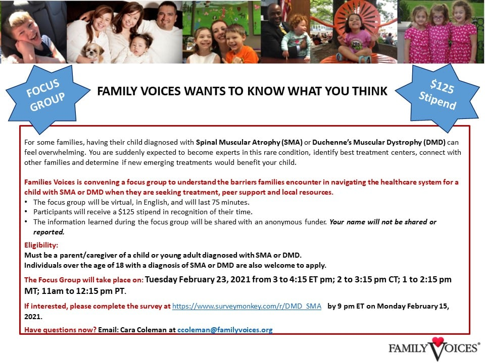 Family Voices Flyer - text in the post