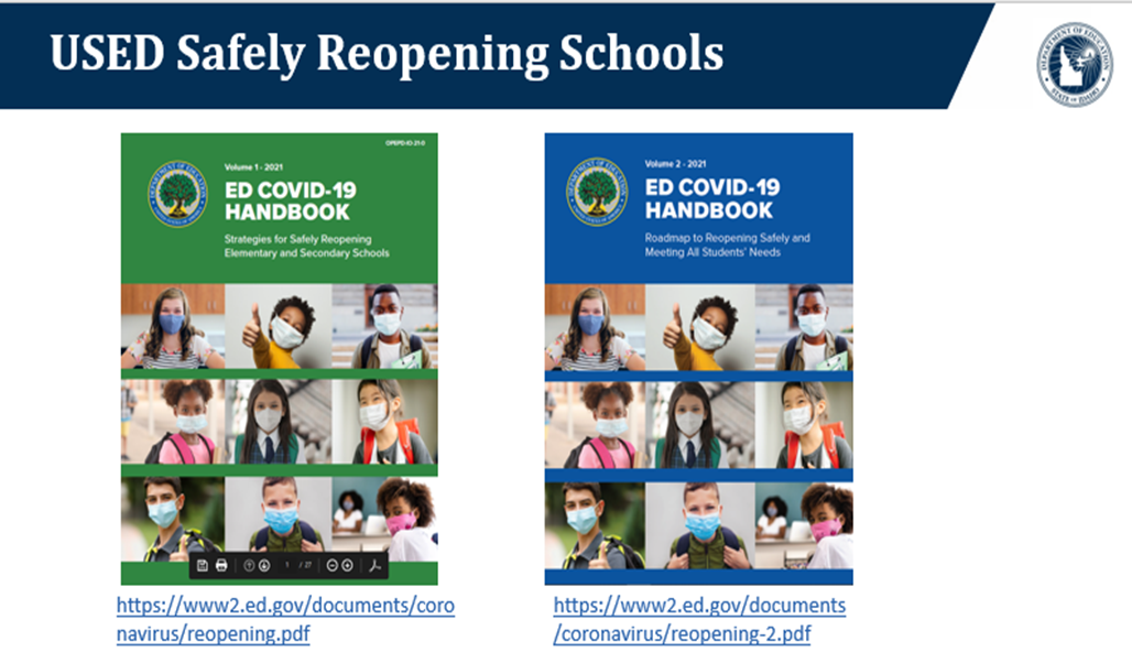 two covers for the guides on safely reopening schools