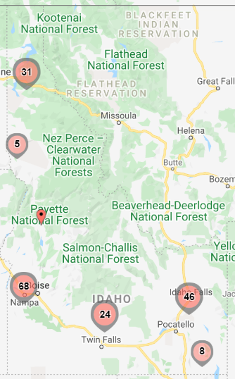 idaho map with sites overlayed