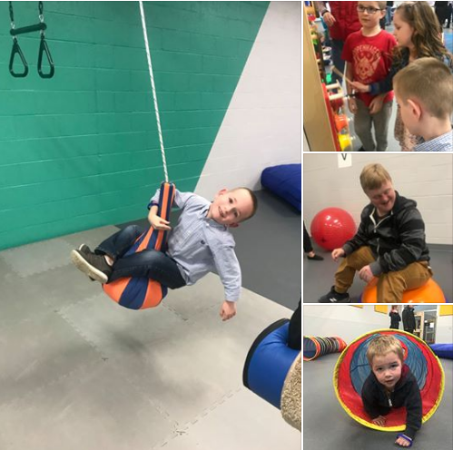 a collage showing several kids playing in the THRIVE center
