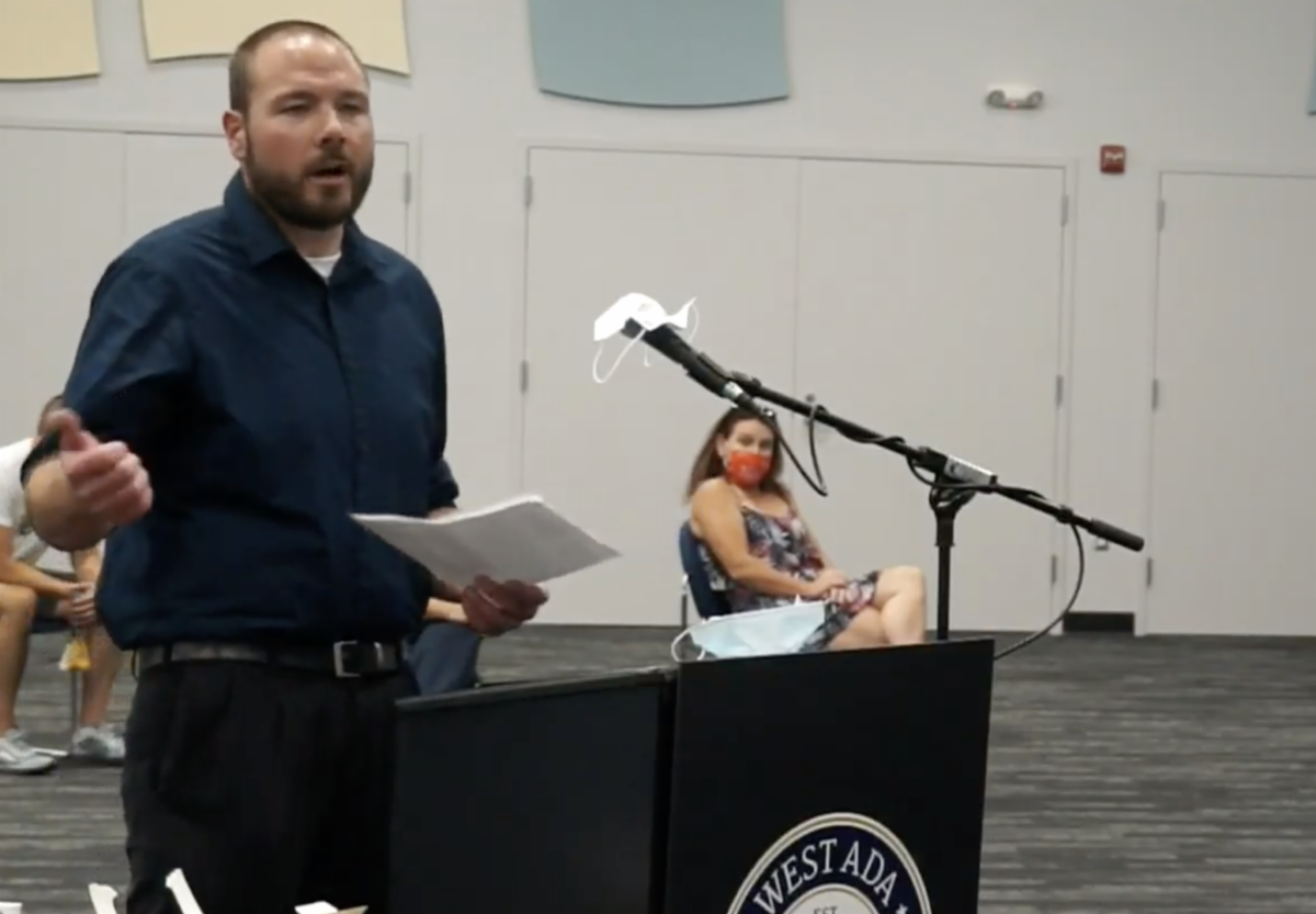 A parent testifying in person