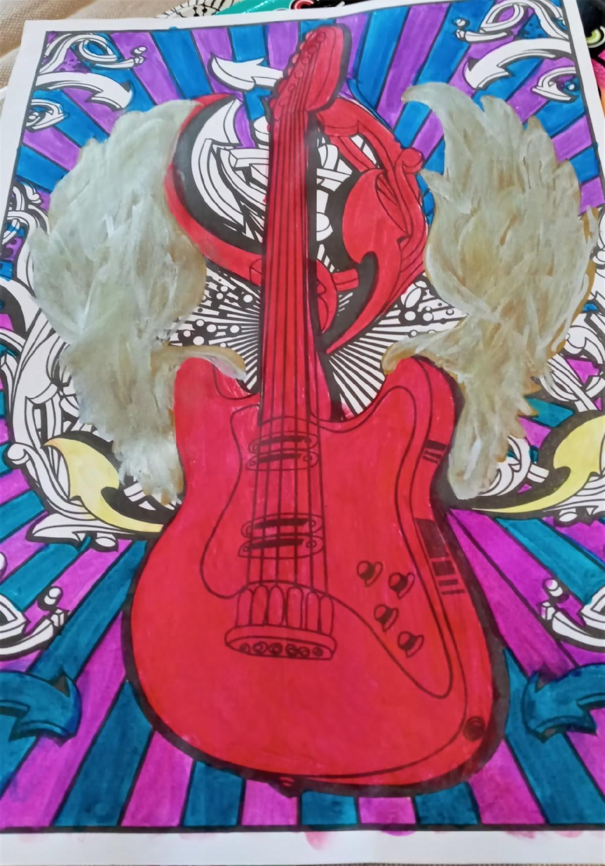 a red electric guitar with wings and blue and purple lines