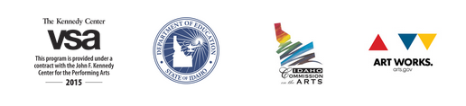 VSA logo, Idaho Dept of Education Logo, Idaho Commission of the Arts logo, and Art Works logo