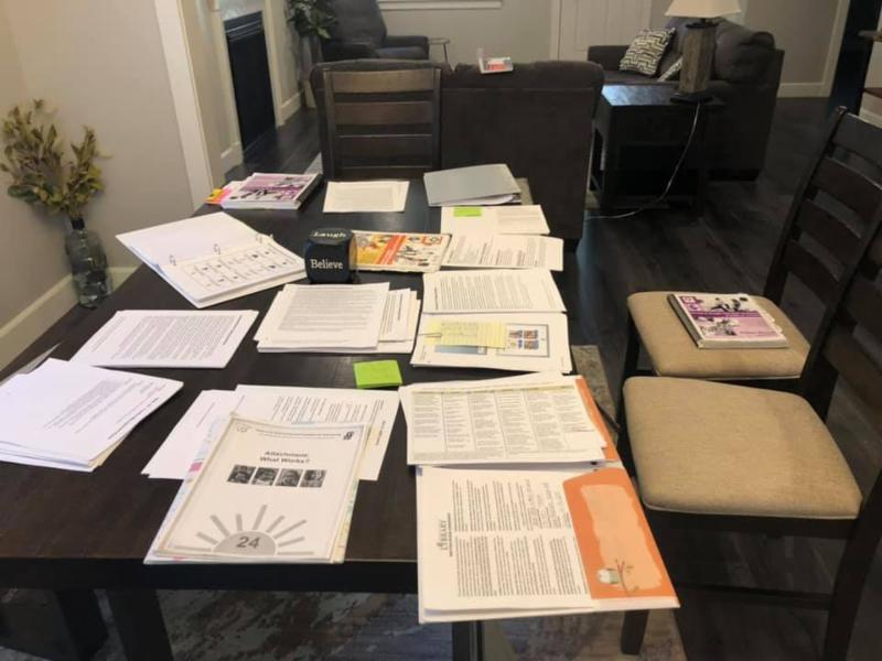 educational materials spread out on a table
