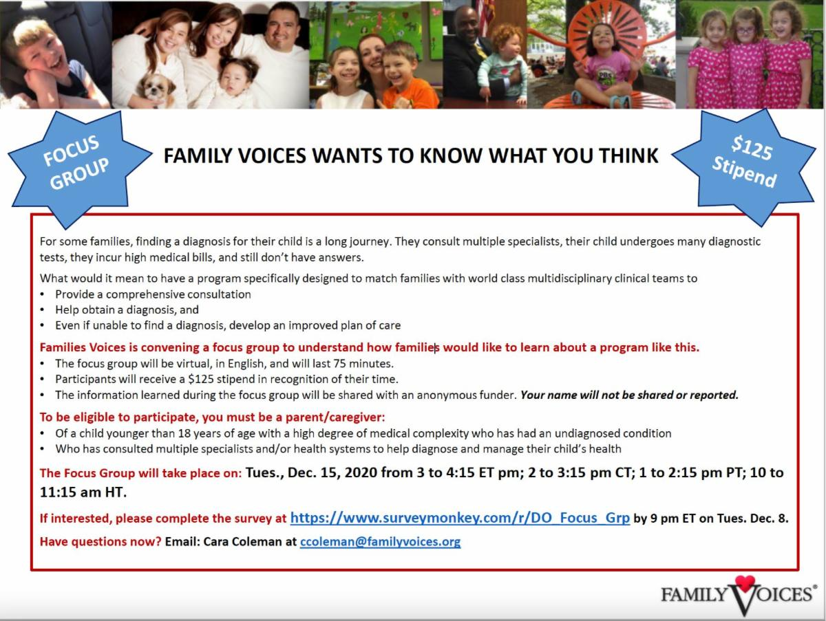 Family Voices Focus Group Flyer