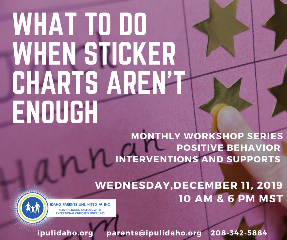 December Flyer showing text over a sticker chart