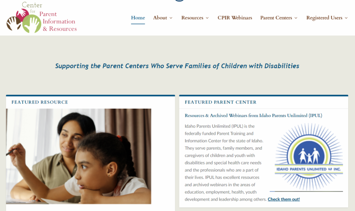 screen capture showing IPUL on the front page of the Center for Parent Information and Resources page