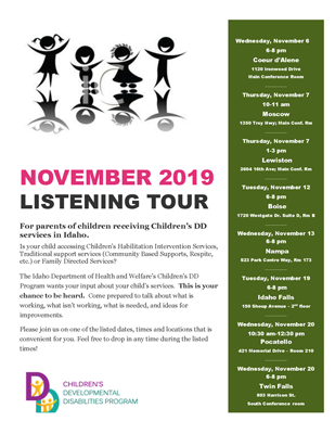 Flyer for the listening tour