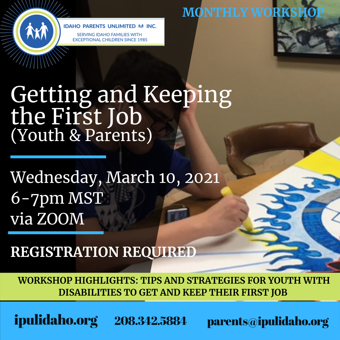 Event Flyer for getting and keeping the first job with a man creating art using a marker in the background behind the text
