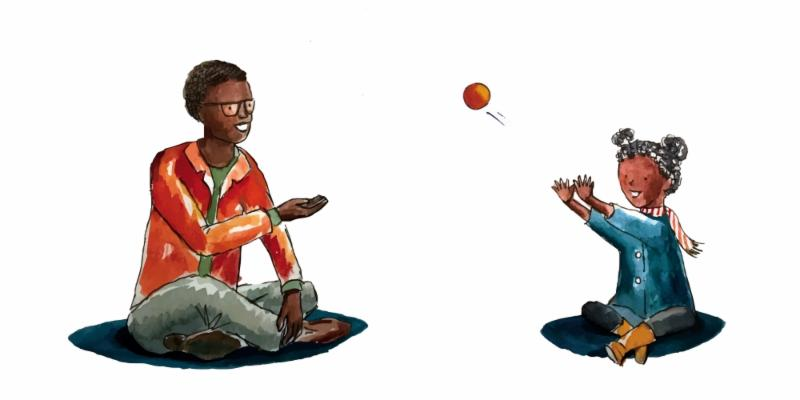 a drawing of a child and an adult playing ball
