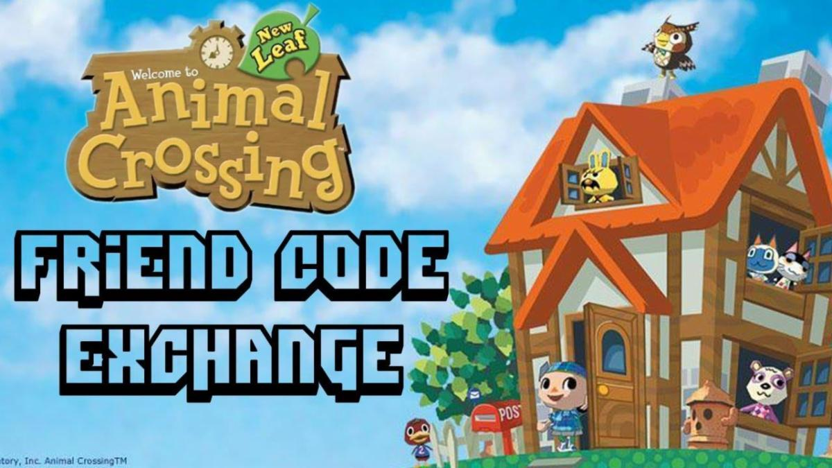 animal crossing house with friend code exchange in text in front of it