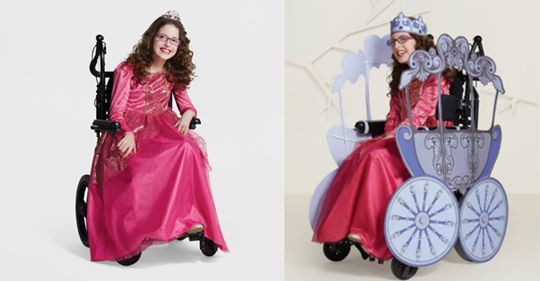 a girl in a wheelchair and in a carriage costume for her wheelchair