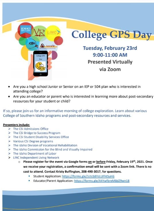 college GPS day flyer